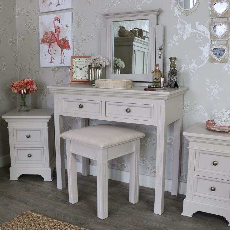 Daventry range - Grey Dressing table stool and mirror - Melody Maison®