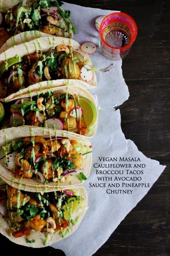 Vegan Masala Cauliflower and Broccoli Tacos with Avocado Sauce / Recipe