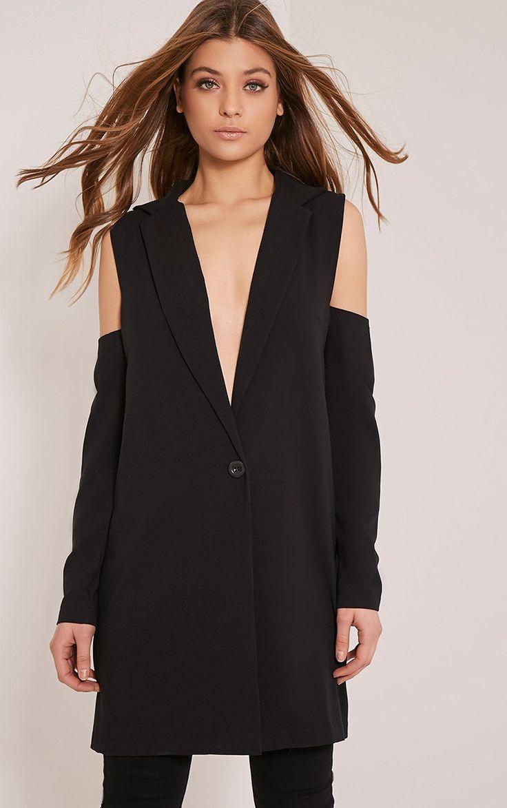 Ora Black Cold Shoulder Blazer Image 1