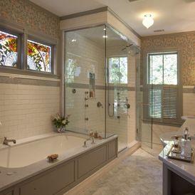Tub surround/shower bench + glassed in steam shower