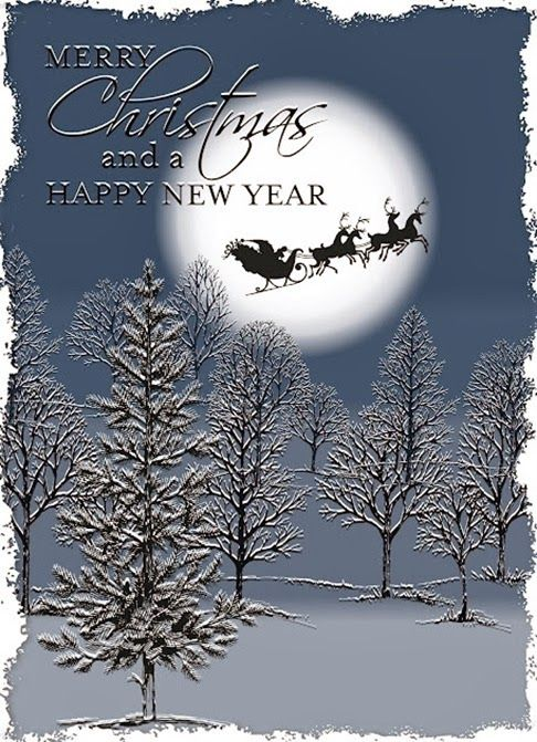 handmade Chirstmas card from julie le blanc ...  My Digital Studio creation ... Lovely as a Tree trees shadow stamped to look like snow is sitting on the branches ... video tutorial on the blog .. Santa and reindeer silhouette crossing the moon ... wonderful card!! ... Stampin' Up!