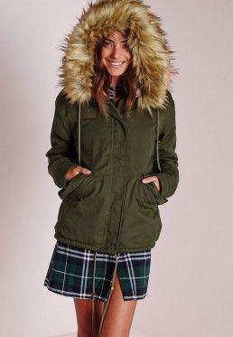 Fur Hood Short Parka Coat Khaki/Camel