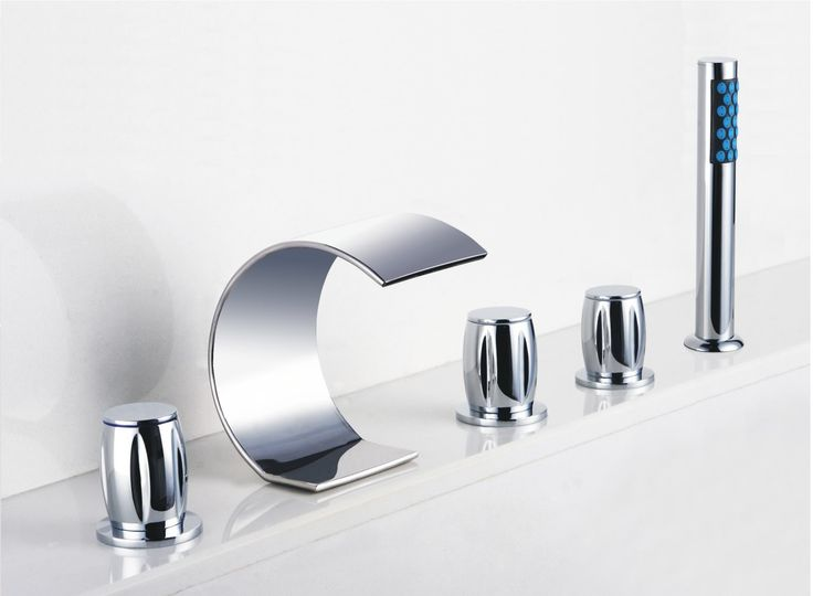Contemporary Curved Shape Design Waterfall Tub Faucet with Hand Shower T7708  http://www.uktaps.co.uk/bathtub-taps-c-21.html