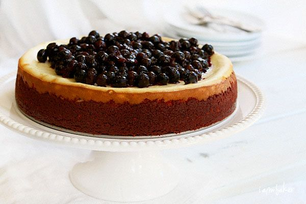 New York Cheesecake with Red Velvet Crust and Blueberry Topping