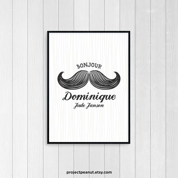 """Printable Wall Art - Nursery Decor - Little Mister - Moustache - Bonjour - Name Wall Art - Baby Name Art - Monochrome Nursery - Baby Boy  PLEASE NOTE:  + You are purchasing a digital file only.  + NO PRINTED MATERIALS ARE INCLUDED!  + There are NO REFUNDS as this is a digital product.  + A reminder that this is a DIGITAL PRODUCT.  WHAT DO YOU GET? 11x14 inch digital printable artwork  HOW TO ORDER  1. Purchase the digital file.  2. Leave in the """"message to seller"""":  -- full name of baby  3…"""