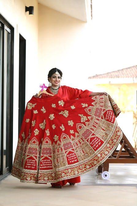 Bridal Lehengas - Red Bridal Lehenga with Caligrophy | WedMeGood #wedmegood #Indianbride #Indianwedding #Bridallehenga #lehenga #bridal #red #weddinglehenga