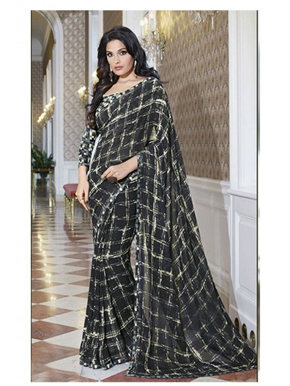 Bound up Black Chax Printed Saree