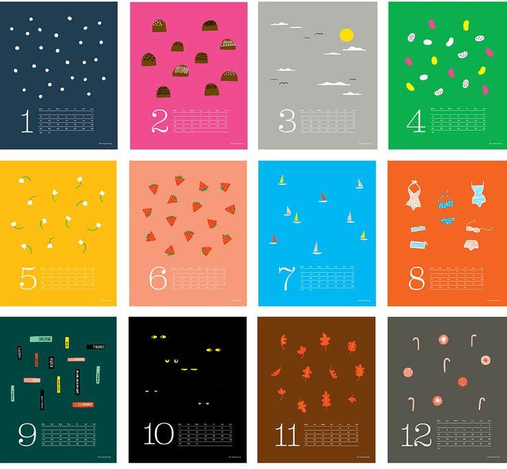Fun Illustrated Calender Design {print per month} // Hello   The Indigo Bunting