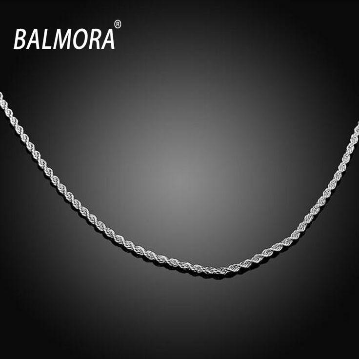 Eceran Grosir Baru Klasik Perhiasan Perak disepuh Rantai Kalung untuk Wanita Pria hadiah 2mm Rope Rantai Gratis Pengiriman Tinggi kualitas