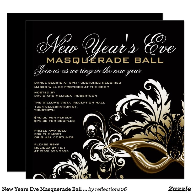 New Years Eve Masquerade Ball Invitations | Zazzle.ca