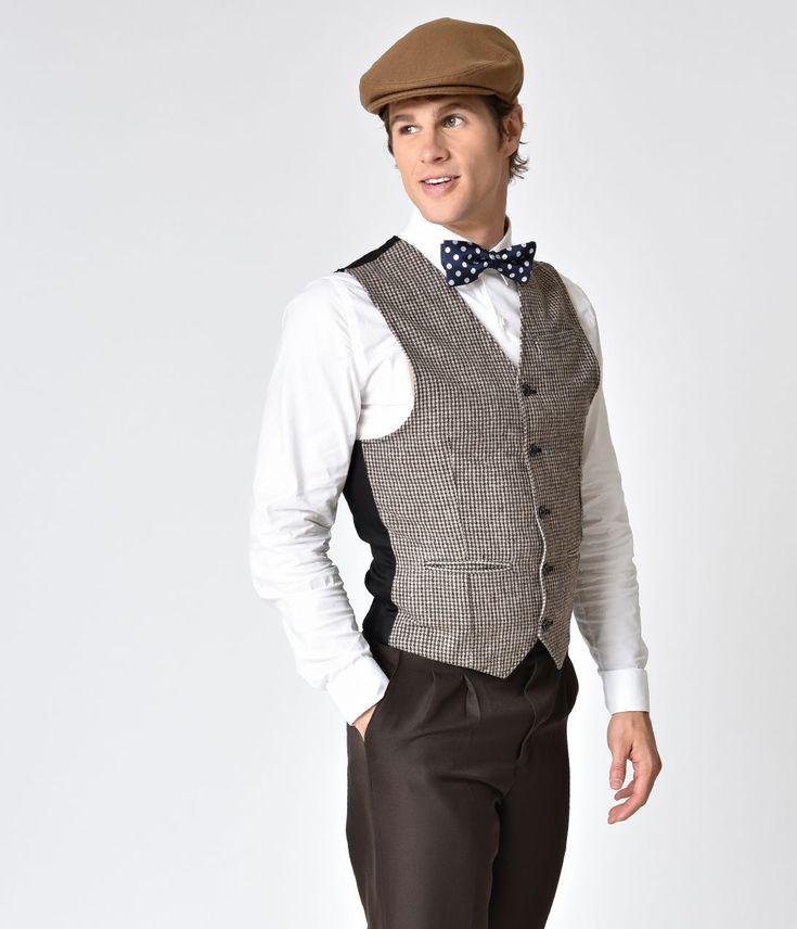 Vintage Style Brown Woven Mens Slacks