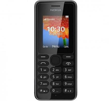 """Мобильный телефон Nokia 108 Dual Sim Black  — 2090 руб. —  телефон с классическим корпусом, диагональ экрана 1.8"""", разрешение 128x160, камера 0.30 МП, карты памяти microSD (TransFlash), поддержка Bluetooth, вес 70 г, ШxВxТ 47x110.40x13.50 мм, акк. 950 мАч, MP3-проигрыватель, радиоприемник"""