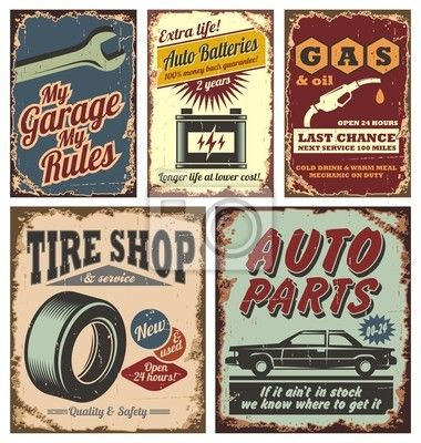 Wall mural Vintage car metal signs and posters