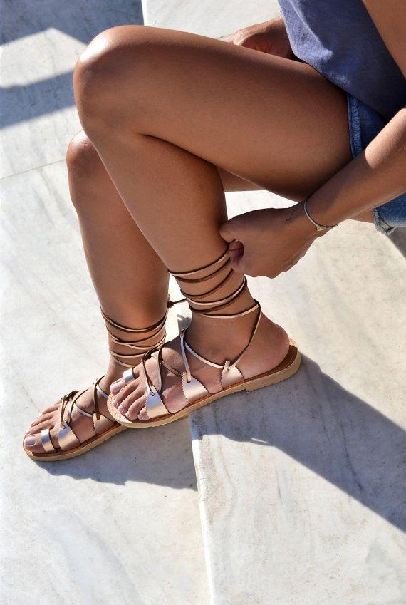 Schnüren Sie Sandalen, Gladiator Sandalen, Sandalen, Ledersandalen, griechische Sandalen in rose gold Leder