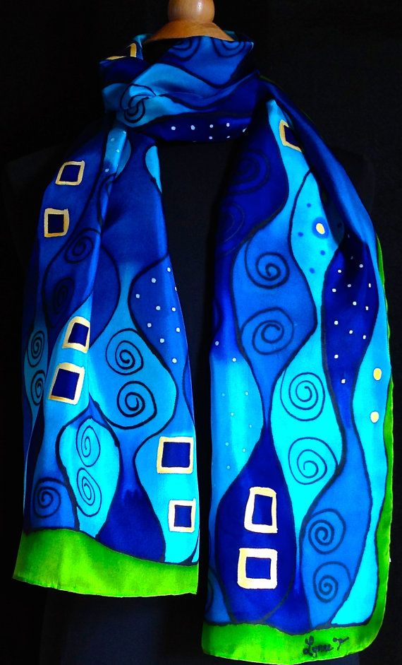 Bufanda de seda vibrante estilo Art Nouveau por FantasticPheasant