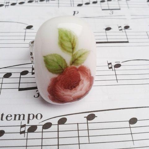 """""""Porcelán"""" rózsával II.- üvegékszer gyűrű, Ékszer, óra, Gyűrű, Meska"""