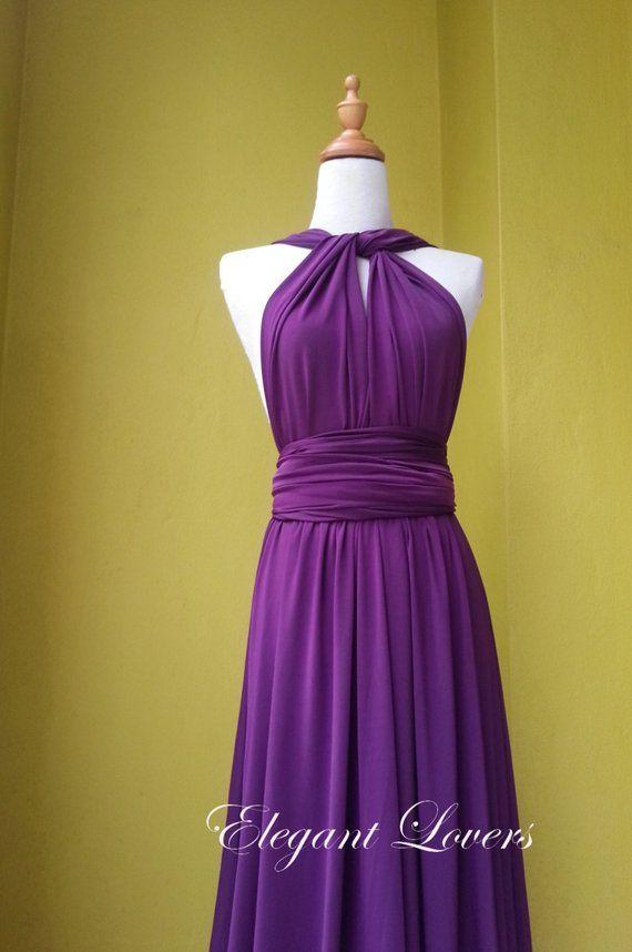Dark Purple Wedding Bridesmaid Infinity Wrap Convertible Evening