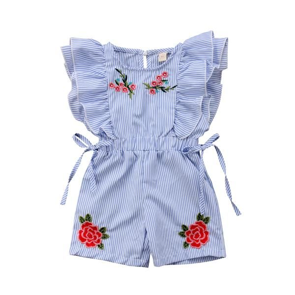 Weixinbuy Toddler Baby Girls Ruffled Floral Flower Romper Overall Bodysuit Clothes Outfits