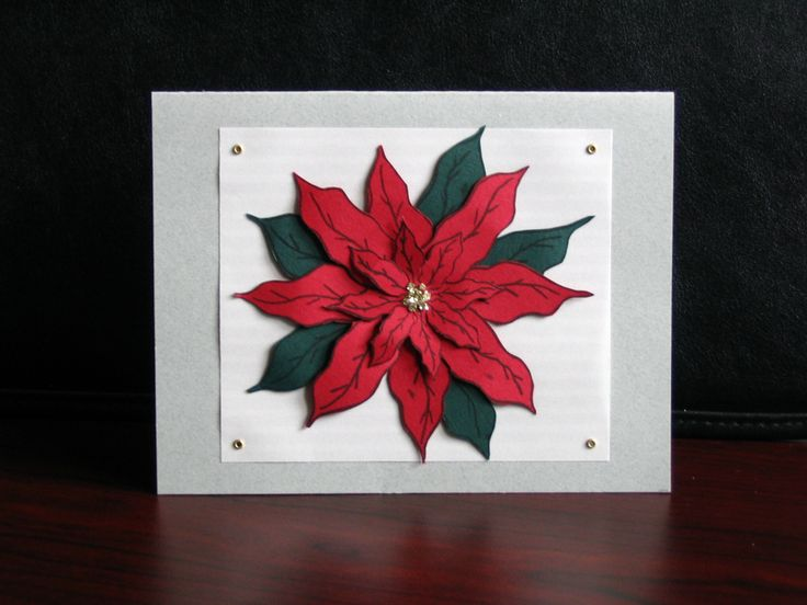 Poinsettia using two sized stamps and fussy cutting