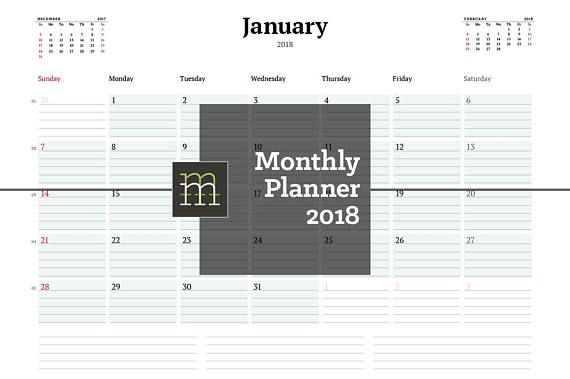 Printable Monthly Planner 2018 InDesign Template