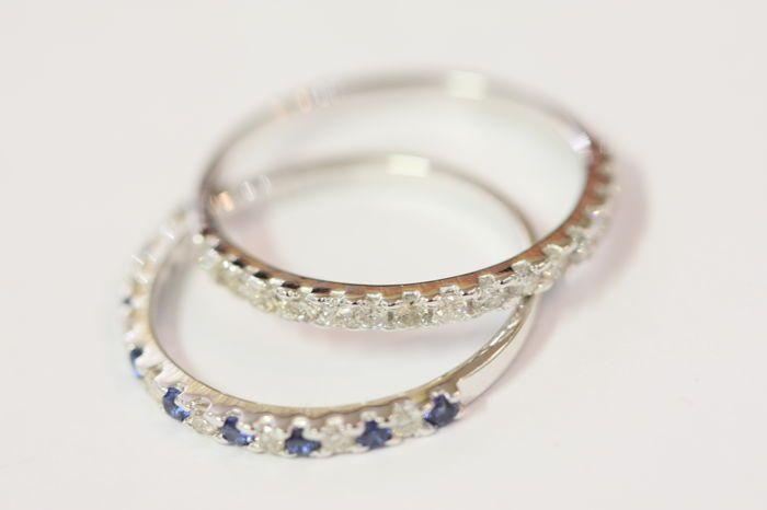 Veel 2 ringen in 14 kt hallmarked wit goud met diamanten van 050 ct en blauwe saffieren - grootte 17  EUR 399.00  Meer informatie