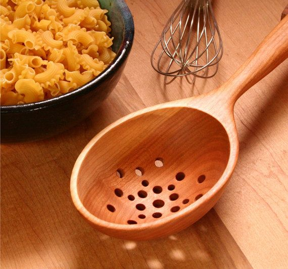 Large and deep wooden colander spoon kitchen by KitchenCarvings