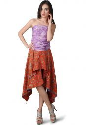 TRE Batik  TRE Batik Dress Strapless Combined With Batik Cirebon Purple