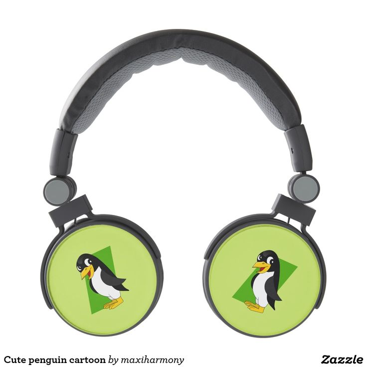 Cute penguin cartoon headphones
