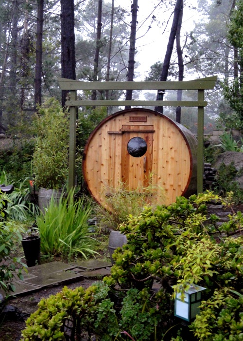 Rozycki Woodworks - Wood burning barrel suana delivered and set-up in Cambria, California.