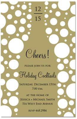 Holiday cocktails party invitation perfect for New Years Eve celebrations!