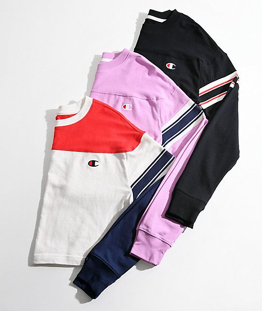 a5af306a9796 Champion Stripe Pink Crop Long Sleeve T-Shirt in 2019