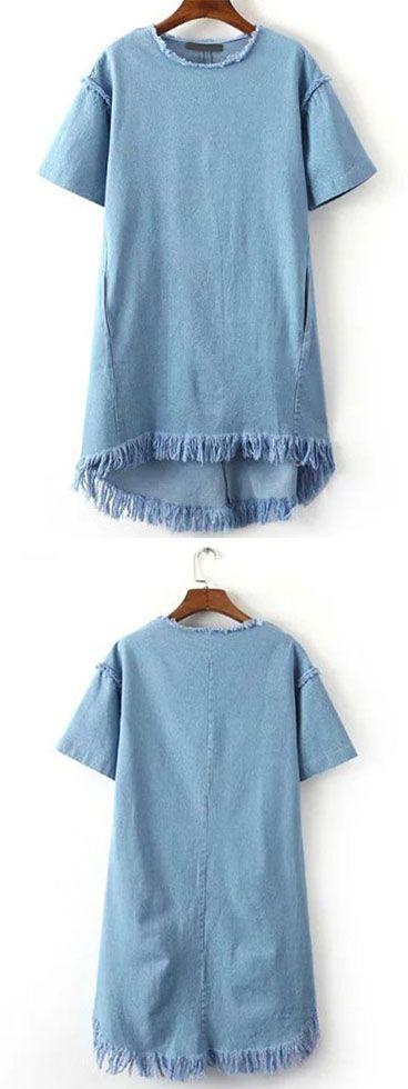 Blue Crew Neck Tassel Denim Dress
