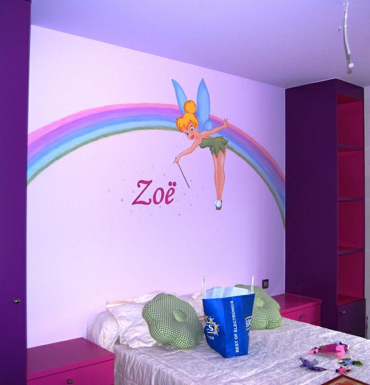 Muurschildering Tinkerbel in een kinderkamer