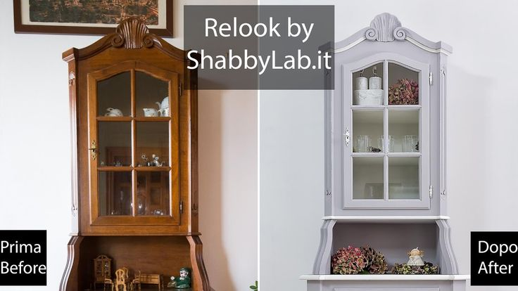 Shabby Chic Relook credenza con vetrina all'inglese