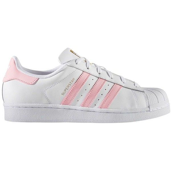 Adidas Shell-Toe Lace-Up Sneakers (€75) ❤ liked on Polyvore featuring shoes, sneakers, white pink, leather shoes, white shoes, white trainers, white sneakers and white lace up shoes