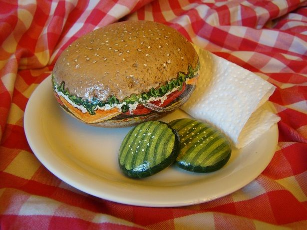 Painted Rocks - hamburger and pickle chips