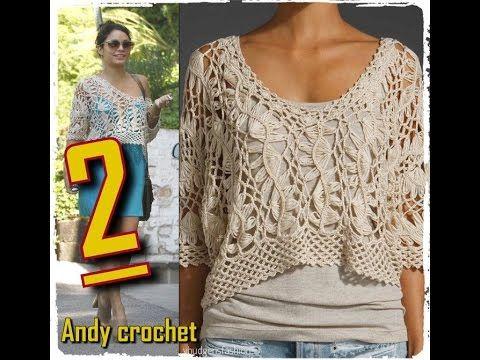 BLUSA EN HORQUILLA Y CROCHET ( PARTE 2 ) Andy crochet - YouTube