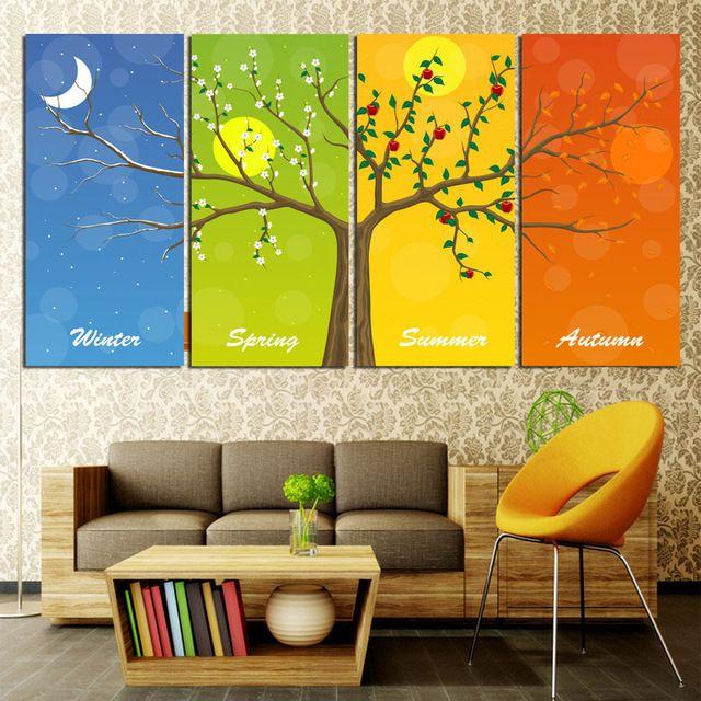Imagen Multi Four Seasons árbol decorativo de pared cuadros resumen paisaje Paintings For moderna sala de estar paredes decoración