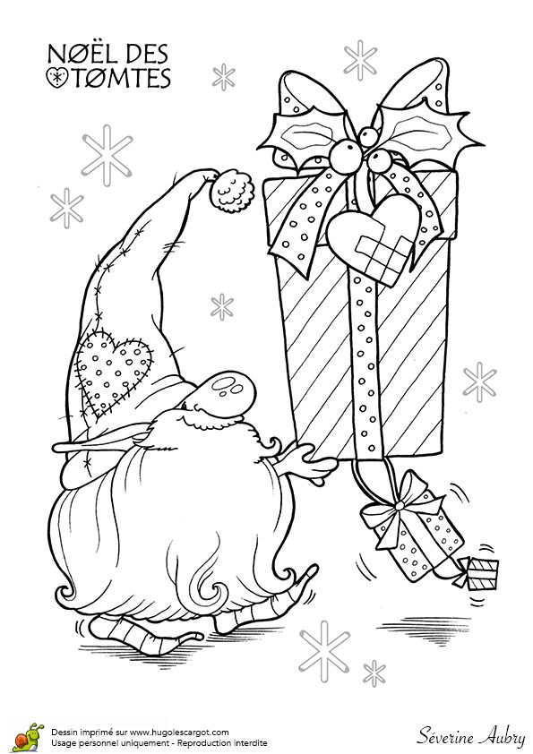 Coloriage les tomtes lutins suedois cadeaux sur for Tomte coloring page