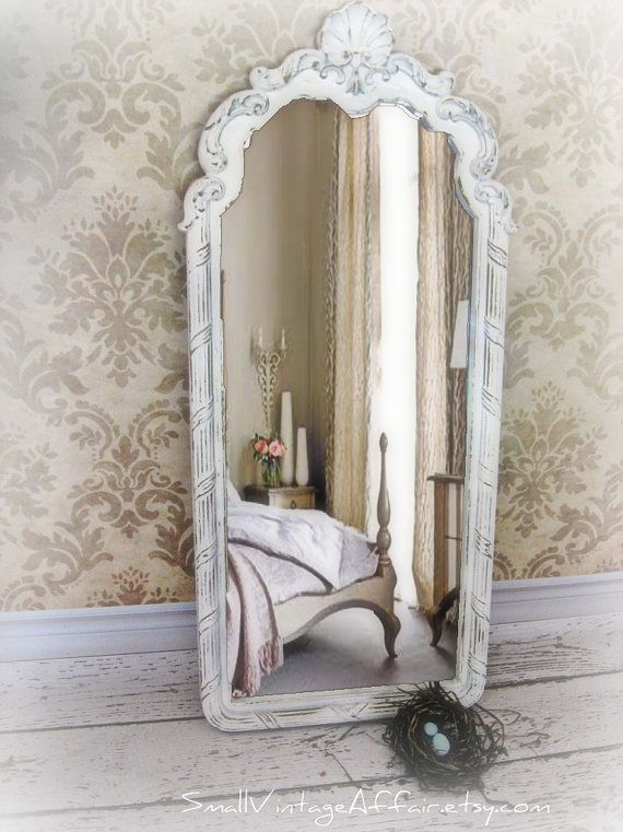 Long French Mirror Vintage White Mirror by smallVintageAffair, $159.00 - full length