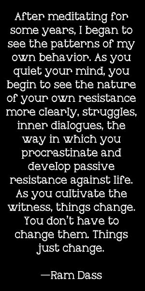 """""""After meditating for some years, I began to see the patterns of my own behavior. As you quiet your mind, you begin to see the nature of your own resistance more clearly, struggles, inner dialogues, the way in which you procrastinate and develop passive resistance against life. As you cultivate the witness, things change. You don't have to change them. Things just change.""""  — Ram Dass"""