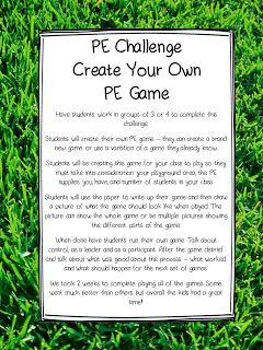 The Picture Book Teacher's Edition: PE Challenge - Create Your Own PE Game I've done this with middle school, but like the idea of doing it with elementary too.