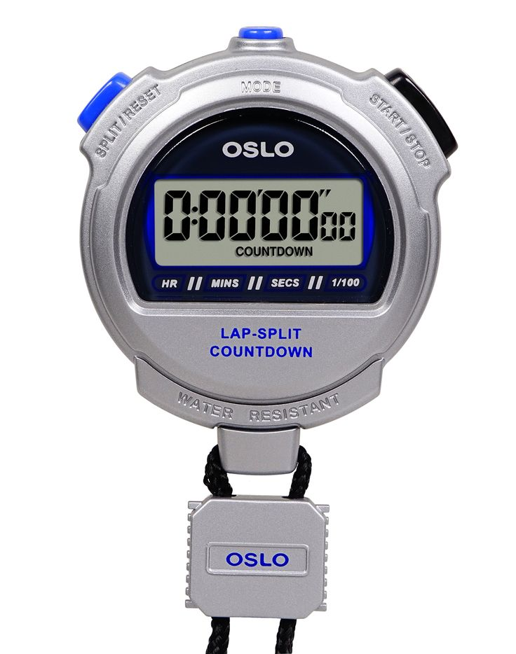 Oslo Silver 2.0 Twin Stopwatch and Countdown Timer. Event, lap, or split timing; 1/100 second precision to 10 hours. Two finish-time memory recall; unlimited time readings. Countdown timer with time remaining and an audible alarm at completion. Water resistant; one-year warranty.