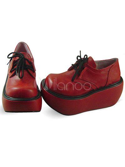 Plataforma roja redonda Toe cordones PU Lolita zapatos - Milanoo.com
