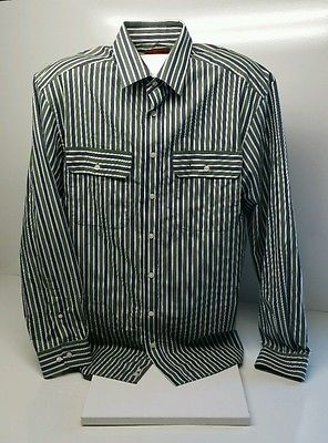 RM Williams Striped Long Sleeved Shirt Size L 100% Cotton Longhorn Logo