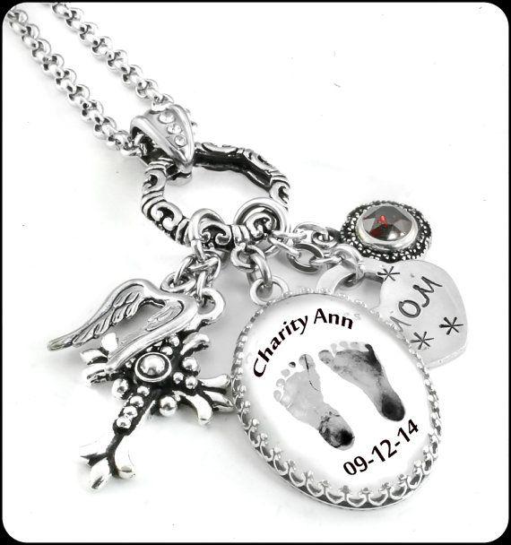 Baby Footprints Jewelry, Grandmother Jewelry, Childs Footprint Pendant, Personalized Jewelry, Footprint Necklace, Mom Necklace
