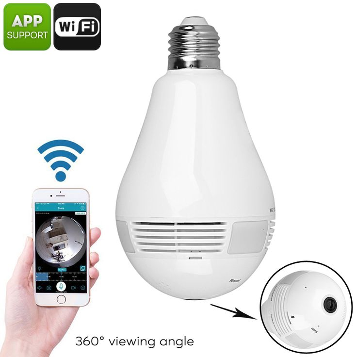 LED Light Security Camera - 360-Degree Fisheye, Motion Detection, WiFi, App Support, SD Card Recording, FHD Video, 3x 1W LED - This unique LED light features an intergraded 360-Degree security camera. WiFi and App support allows you to access your IP cam from anywhere on the globe.