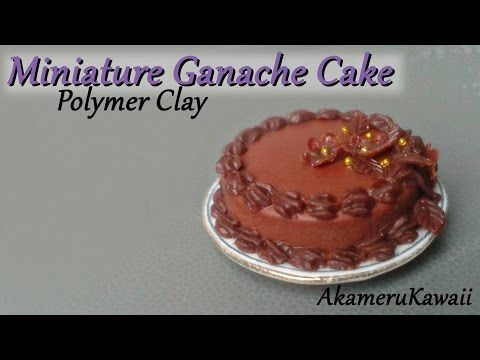Miniature Chocolate Ganache Cake - polymer clay Dollhouse food tutorial - YouTube