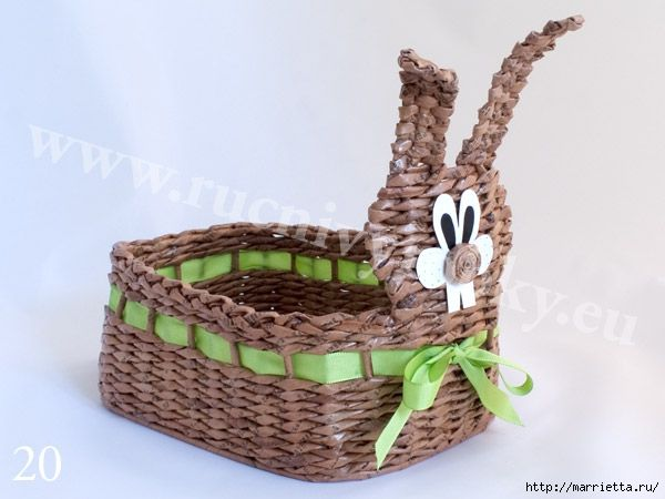 WEAVING NEWSPAPERS. EASTER BUNNY BASKET DIY