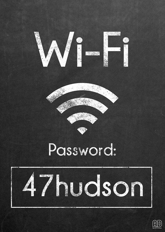 WiFi Password Printable Wifi by AycockDesigns on Etsy